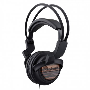 NoiseHush Wood 3.5mm Black Stereo Headphones with In-Line Mic