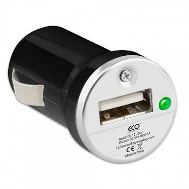 Black ECO Universal Single USB Vehicle Charger 1A