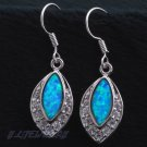 Blue Fire Opal Sterling Silver Dangleling Earrings