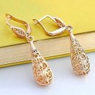 18K Gold Plated Pierced Hollowed Out Water Drop Vintage Drop Earrings