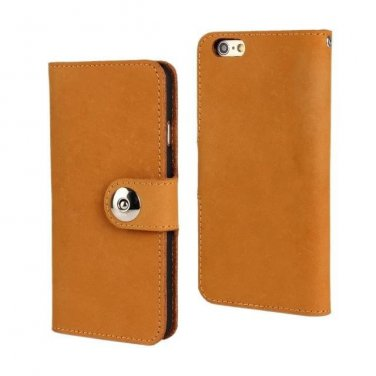 Iphone 5 Handmade Flexable Genuine Leather Light Brown Wallet Case Cover