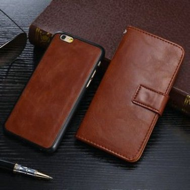 New! 2 in 1 Brown Leather Iphone 6 (4.7) Wallet Case