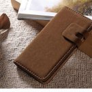 Brown Suede Leather Wallet Stand Case For iPhone 5