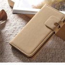Beige Suede Leather Wallet Stand Case For iPhone 5