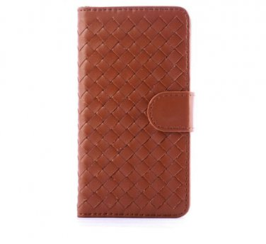 Brown Woven Leather Wallet Phone Stand Case for iphone 6 (4.7)