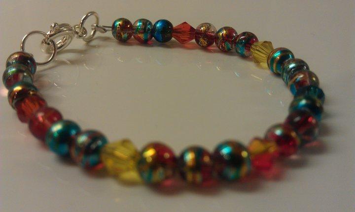 3 Years: Metallic Blue Czech Glass & Crystals Toddler Bracelet