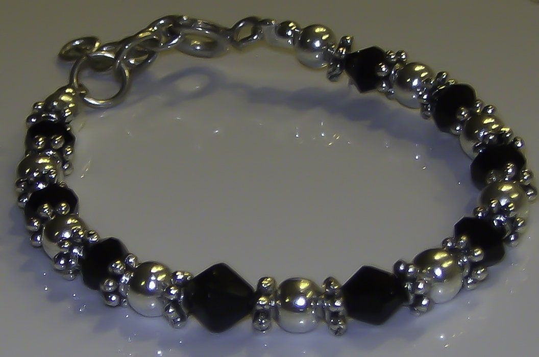 6-12 Months: Black and Silver Bracelet