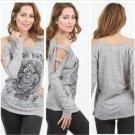 VOCAL Womens Top Open Shoulder Fleur De Lis Shirt - Grey