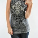 Womens Vocal Tank Top Chopper Rhinestone Sexy Shirt