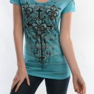 Womens Vocal Fleur De Lis Cross Jade Burnout T-Shirt