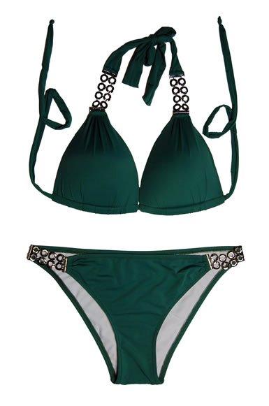 2pc Designer Bikini (Black,Green)
