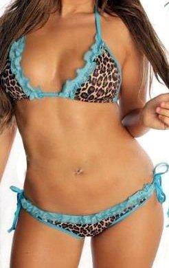Leopard Print Bikini with Ruffle Lace Trim (Blue,Pink)