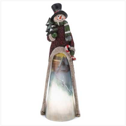 ~FREE SHIPPING~LIGHT-UP SCENIC SNOWMAN STATUE