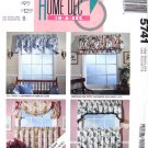 Cafe Curtains Swag & Balloon Topper Sewing Pattern McCalls 5741 Home Decorating UNCUT