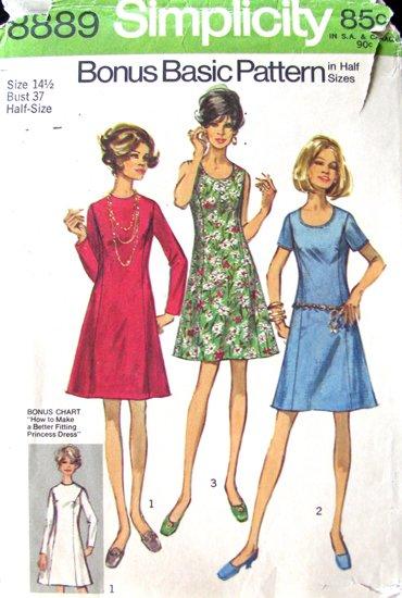 70s Princess Dress Vintage Sewing Pattern Simplicity 8889 Bust 37