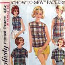 60s Vintage Blouse Sewing Pattern Simplicity 5326 Bust 31