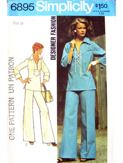 70s Hippie Top & Wide Pants Vintage Sewing Pattern Simplicity 6895 Bust 38