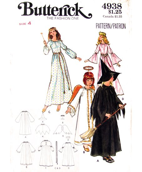 70s Vintage Girls Costume Sewing Pattern Butterick 4938 Witch, Angel, Fairy & Princess Size 4