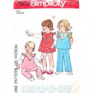 Girls 70s Dress or Top & Pants Vintage Sewing Pattern Simplicity 7903 Size 1