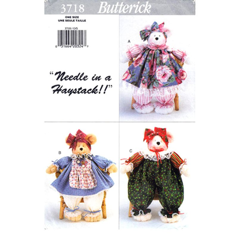 Butterick 3718 Pammy Bears Craft Sewing Pattern 18 Inch Bear Home Decor