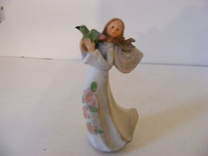 ANGEL STATUE-CERAMIC-HOLDING BIRD-VERY DETAILED-QUALITY COLOR MIXING