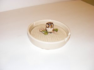 OTAGIRI HAND PAINTED OWL ASHTRAY