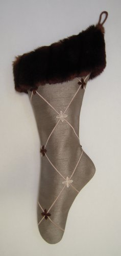 Taupe and Pink Embroidered Ballet Christmas Stocking