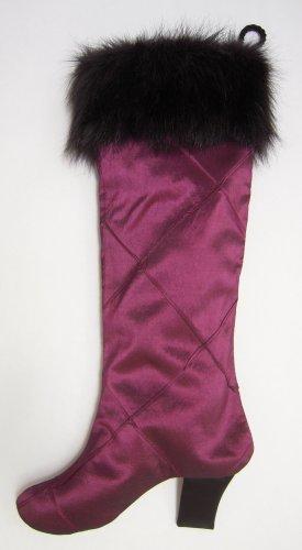 Hot Pink Silk Boot Christmas Stocking