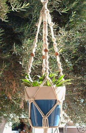 MACRAME PLANT HANGER 28in BEADED Button Knot **PEARL**