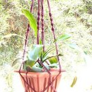 Macrame Plant Hanger 40 in vintage 4mm **CRANBERRY**