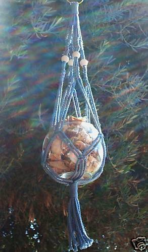 MACRAME PLANT HANGER 24 in BLUE with WHITE BEADS
