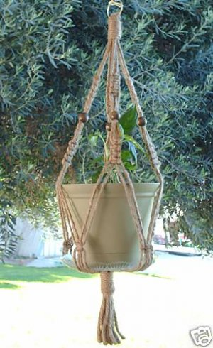 Macrame Plant Hanger BEADED 28 in 6ply All Natural JUTE