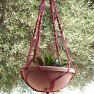 Macrame Plant Hanger 40in FlowerPot Beads 4mm**CRANBERRY**
