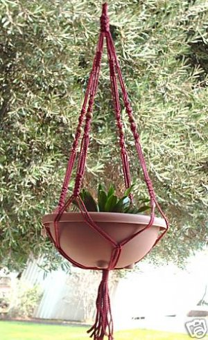 Macrame Plant Hanger 40in FlowerPot Beads 4mm**CRANBERRY**