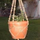 Macrame Plant Hanger 28in BEADED Button Knot 3ply JUTE