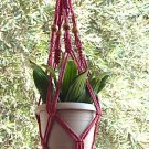 Macrame Plant Hanger BEADED 24 in **CRANBERRY**