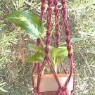 Macrame Plant Hanger 28in Button Knot **Cranberry Red**
