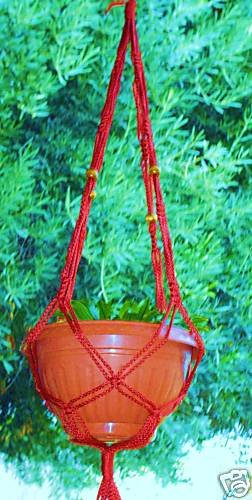 MACRAME PLANT HANGER 36in Vintage BEADED *Cranberry Red