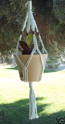 Macrame Plant Hanger 28in Vintage Beaded 7mm SlateGreen