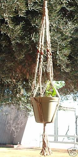 Macrame Plant Hanger 40in BEADED -WIDEPot- *SAND* (4mm)