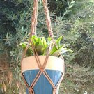 Macrame Plant Hanger 30in BEADED Vintage **Cinnamon**