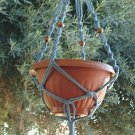 MACRAME PLANT HANGER 28in BEADED Button Knot *SkyBlue*