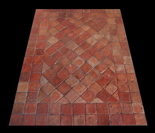 2 Really old french terracotta floor tiles