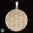 GIBEON METEORITE Sterling Silver Pendant Flower of Life Sacred Geometry AAA P119