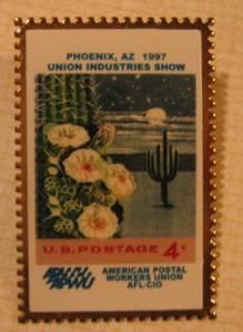 Saugaro Cactus Arizona stamp pin AFL CIO lapel pins hat 1192