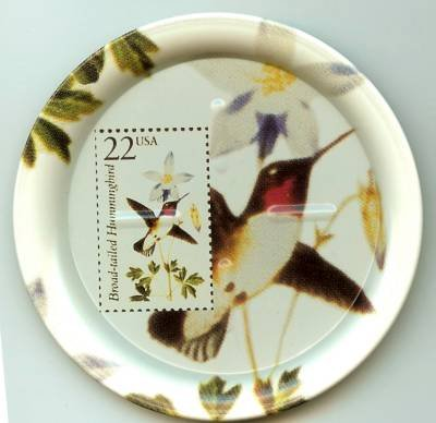 Broad-tailed Hummingbird stamp coasters lot of four