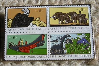 Eagle Elephant Dinosaur stamp pin lapel pins 1387-90 S