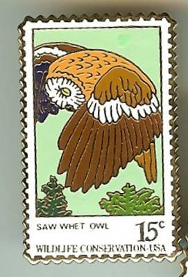 Saw Whet Owl stamp pin lapel pins hat tie tac 1761