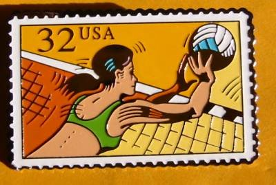 Volleyball Sports stamp pin lapel pins hat tie tac 2961