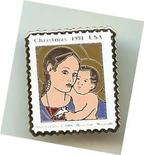 Madonna Child Antoniazzo Romano stamp pin lapel 2578